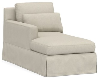 Pottery Barn York Square Arm Deep Seat Slipcovered Chaise Sofa Sectional
