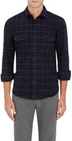 Salvatore Piccolo MEN'S WINDOWPANE-CHECKED COTTON MELTON WORK SHIRT