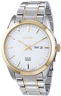 Seiko Gents Mens Two Tone Stainless Steel Solar Watch on Bracelet with Day & Date. SNE364P1