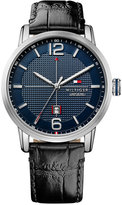 Tommy Hilfiger Men's Casual Sport Black Leather Strap Watch 44mm 1791216