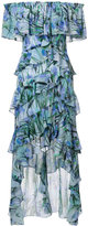 Badgley Mischka ruffled dress with bird detail - women - Polyester - 0