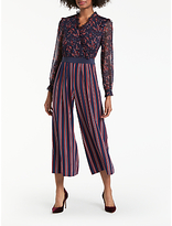 Boden Cicely Palazzo Silk Floral Print and Striped Jumpsuit, Red/Navy