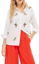 Topshop Women's Embroidered Bird Shirt