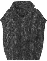 The Elder Statesman Malta Mélange Cashmere Hooded Poncho - Charcoal