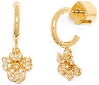 Kate Spade Precious Pansy Pave Huggie Hoop Earrings