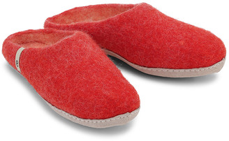Egos Copenhagen - Natural Felted Fair Traded Slippers in Rusty Red - 36 (3) | wool | red - Orange/Orange/Red