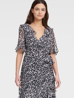 DKNY Ruffle V Neck Dress With A-line Skirt