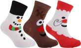 Universal Textiles Childrens/Kids Cotton Rich Christmas Design Socks (Pack Of 3)