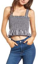 BP Smocked Gingham Crop Tank
