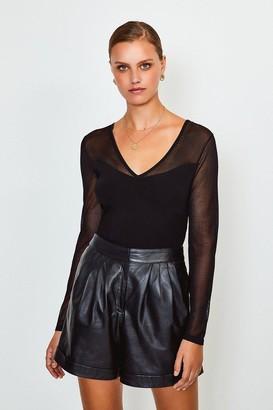 Karen Millen Sheer Sleeve Knitted Top