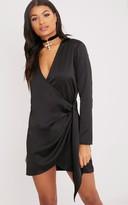 PrettyLittleThing Shaylene Black Tie Side Satin Shirt Dress