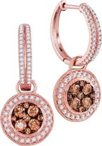 TheJewelryMaster 1.06ctw Champagne Cognac & White Diamond Dangle Earrings