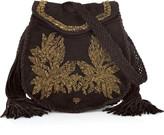 Roberto Cavalli Embroidered suede shoulder bag