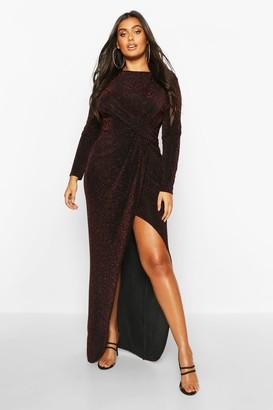 boohoo Plus Glitter Twist Split Maxi Dress
