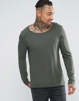Asos Long Sleeve T-Shirt With Scoop Neck In Green