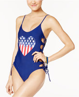 California Waves Heart Lace-Up One-Piece Swimsuit
