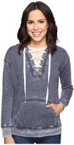 Allen Allen Long Sleeve Lace Front Pullover Hoodie