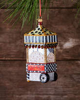 Mackenzie Childs MacKenzie-Childs Boardwalk Popcorn Machine Glass Christmas Ornament