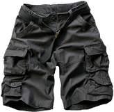 LETSQK Men's Multi-Pocket Camouflage Dungarees Belted Cargo Shorts