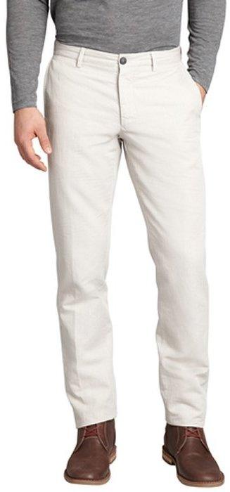 Z Zegna khaki tonal stripe cotton-linen blend straight leg pants