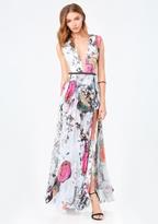 Bebe Petite Print Slit Gown