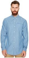 Original Penguin Long Sleeve Washed Indigo Woven Shirt Men's Long Sleeve Button Up