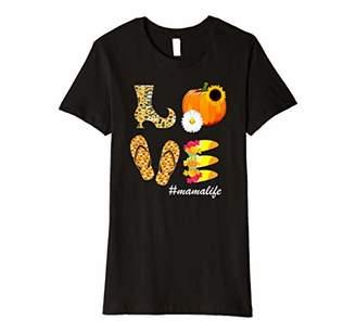 Womens Love mama Life Sunflower Pumpkin Halloween mamalife Premium T-Shirt