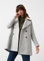 MANGO Faux-Fur Appliqué Wool Coat