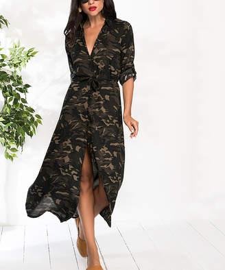 Milan Kiss Women's Casual Dresses KHAKI - Khaki Camo Tie-Waist Button-Up Maxi Dress - Women
