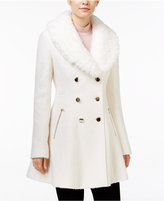 GUESS Faux-Fur-Collar Skirted Swing Coat