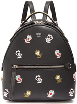 Fendi Floral-embroidered mini leather backpack