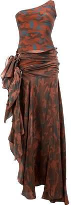 Faith Connexion camouflage asymmetric off-shoulder gown