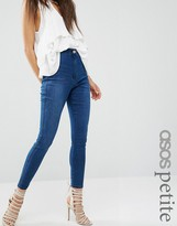 Asos Rivington Denim High Waist Jeggings in Amelia Dark Blue Wash