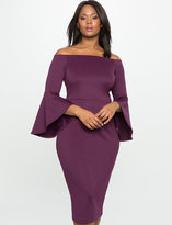 ELOQUII Plus Size Studio Off the Shoulder Flare Sleeve Dress