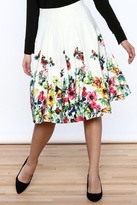 Gracia White Floral Pleated Skirt