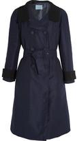 Prada Two-tone Silk-faille Coat - Navy