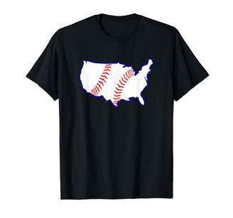 I Heart Baseball Designs & Gifts Co. USA United States BASEBALL Stitch America's Game Pastime T-Shirt