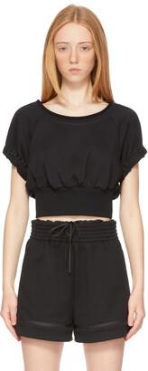 3.1 Phillip Lim Black Shirred Short Sleeve Sweatshirt