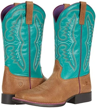 Ariat Wiggle Roomtm Ace (Little Kid/Big Kid) (Light Tan/Turquoise) Cowboy Boots