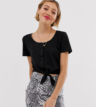 Brave Soul Petite crop t shirt with tie front and button detail