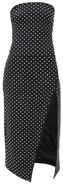 David Koma Crystal-embellished Strapless Midi Dress - Black