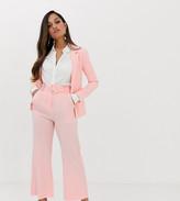 Fashion Union Petite wide leg pants with waist belt two-piece