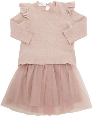 Cotton Sweater & Lurex Tulle Skirt