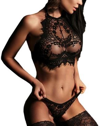 SANFASHION Women Sexy Lingerie Lace Flowers Push Up Top Bra Pants Underwear Set Black