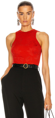 Cushnie Sleeveless Floral Jacquard Knit Top in Rouge | FWRD