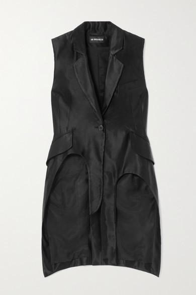 Ann Demeulemeester Asymmetric Linen-blend Satin Vest - Black