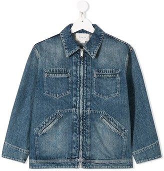 Gucci Kids Embroidered Denim Jacket