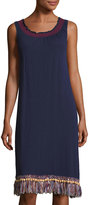 Neiman Marcus Fringed-Hem Sleeveless Dress, Navy