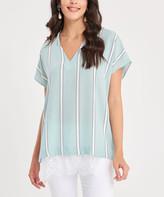 Milan Kiss Women's Blouses MINT - Mint Sheer Stripe Lace-Hem V-Neck Top - Women