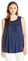 Sag Harbor Women's Sleeveless Scoop Crochet Yoke Crinkle